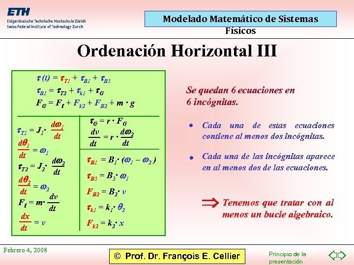 Modelado Matemático de Sistemas Físicos Ordenación Horizontal III t (t) = t. T 1