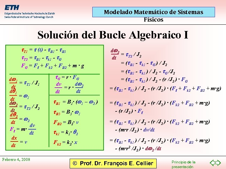 Modelado Matemático de Sistemas Físicos Solución del Bucle Algebraico I t. T 1 =