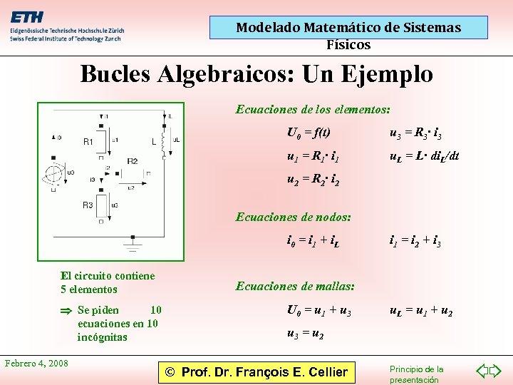 Modelado Matemático de Sistemas Físicos Bucles Algebraicos: Un Ejemplo Ecuaciones de los elementos: U