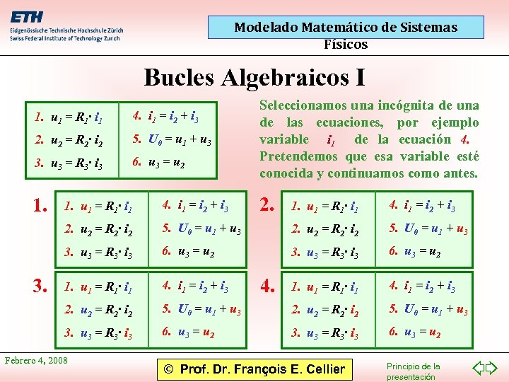 Modelado Matemático de Sistemas Físicos Bucles Algebraicos I 1. u 1 = R 1·