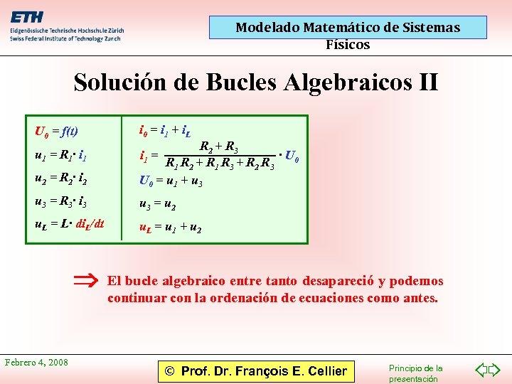 Modelado Matemático de Sistemas Físicos Solución de Bucles Algebraicos II U 0 = f(t)