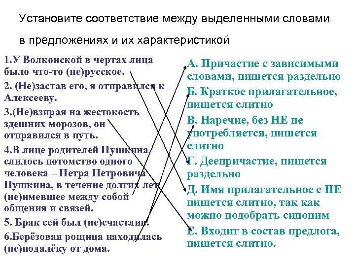 Установите соответствие между выделенными словами в предложениях и их характеристикой 1. У Волконской в