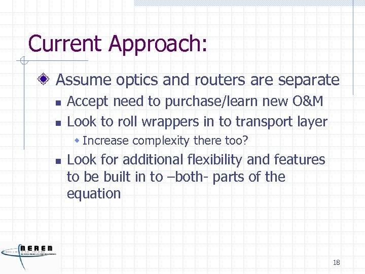 Current Approach: Assume optics and routers are separate n n Accept need to purchase/learn