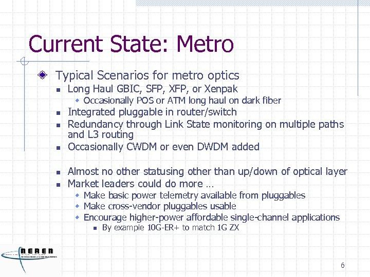 Current State: Metro Typical Scenarios for metro optics n Long Haul GBIC, SFP, XFP,