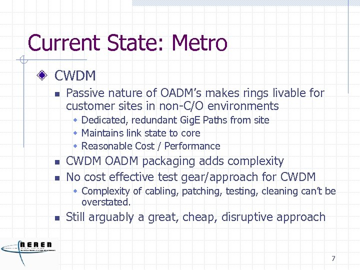 Current State: Metro CWDM n Passive nature of OADM's makes rings livable for customer