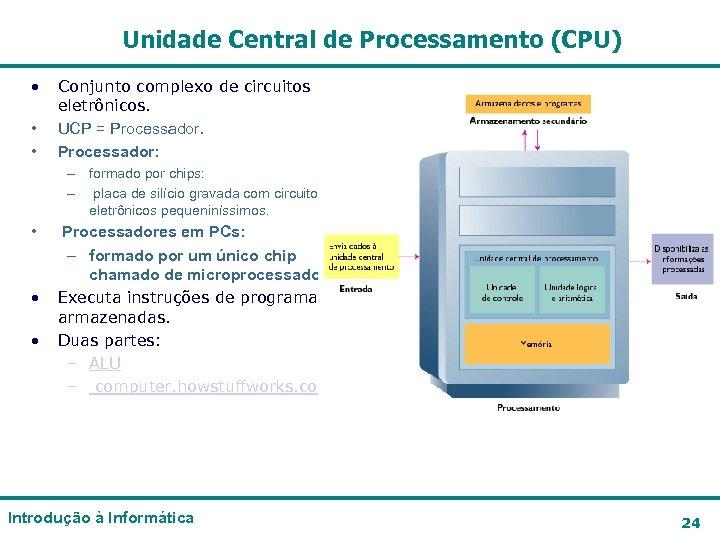 Unidade Central de Processamento (CPU) • • • Conjunto complexo de circuitos eletrônicos. UCP