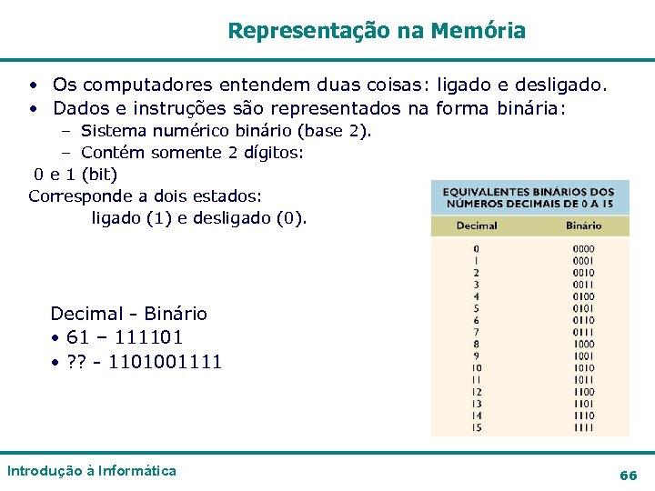 Representação na Memória • Os computadores entendem duas coisas: ligado e desligado. • Dados