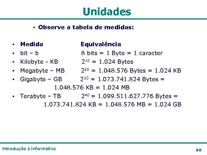 Unidades • Observe a tabela de medidas: • • • Medida Equivalência bit –