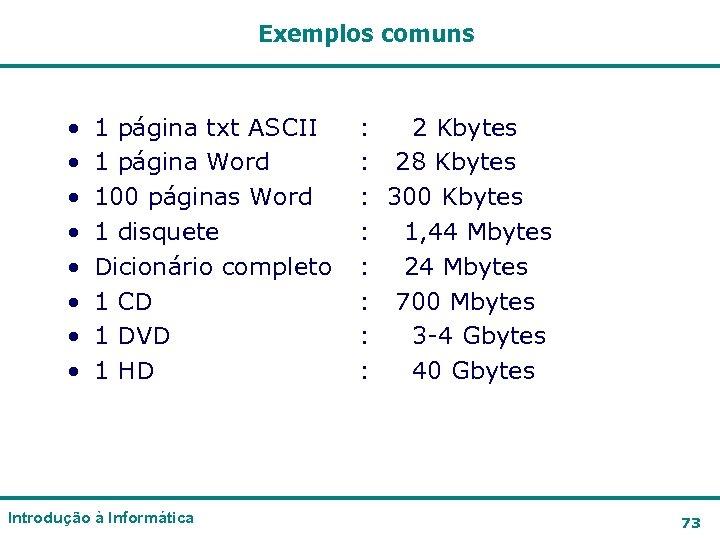 Exemplos comuns • • 1 página txt ASCII 1 página Word 100 páginas Word