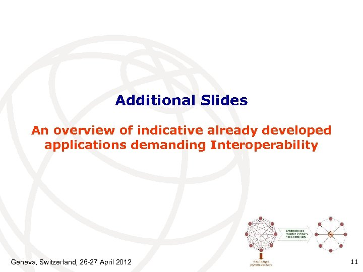 Additional Slides An overview of indicative already developed applications demanding Interoperability Geneva, Switzerland, 26