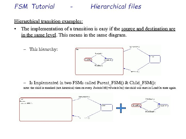 FSM Tutorial - Hierarchical files Hierarchical transition examples: • The implementation of a transition