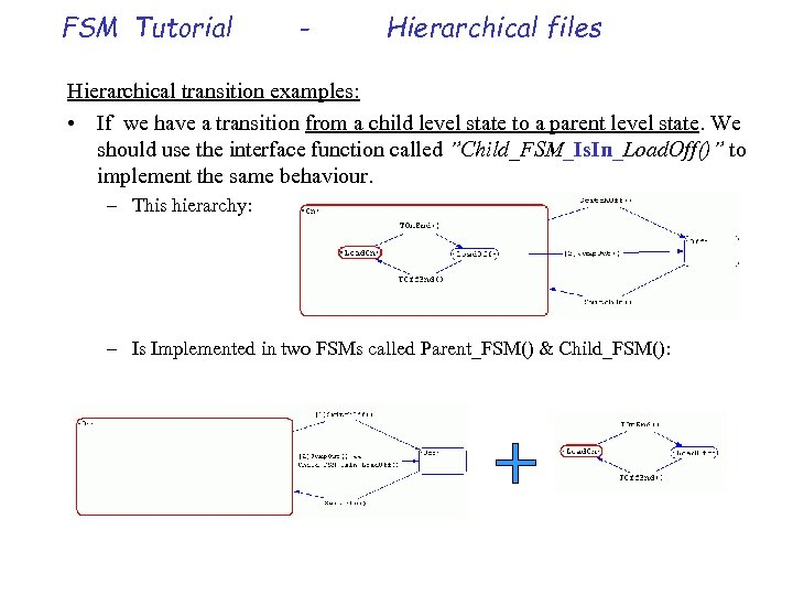 FSM Tutorial - Hierarchical files Hierarchical transition examples: • If we have a transition