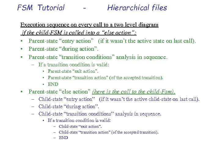FSM Tutorial - Hierarchical files Execution sequence on every call to a two level
