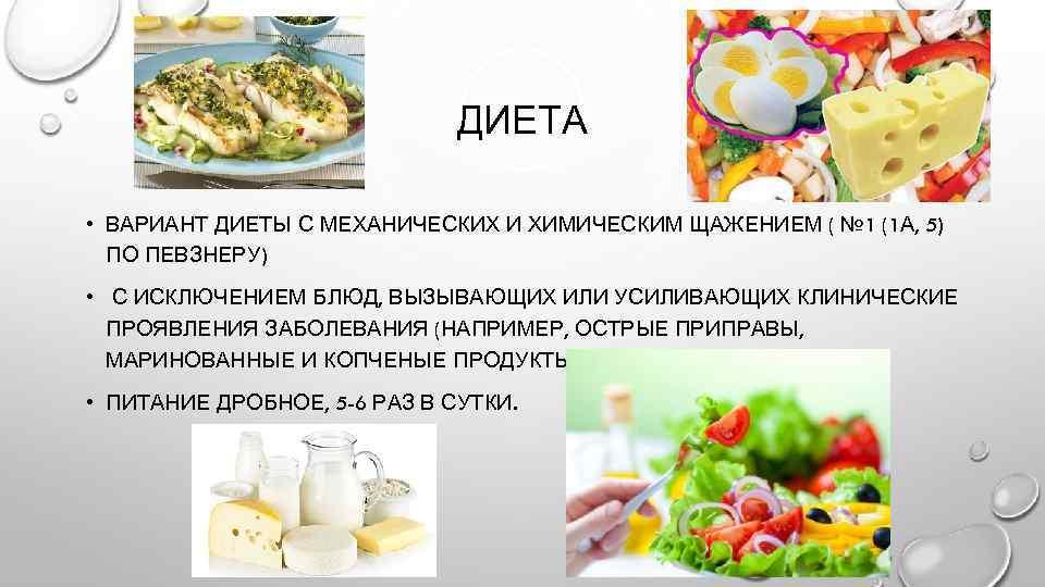 Вариант диеты с механическим и химическим щажением