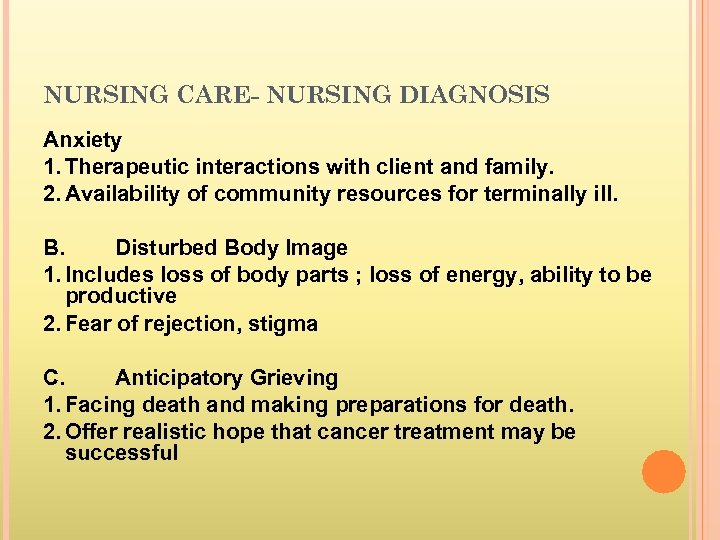 nursing care plan for terminally ill patient