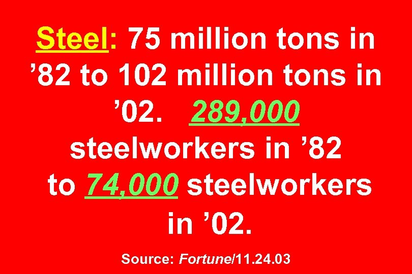 Steel: 75 million tons in ' 82 to 102 million tons in ' 02.