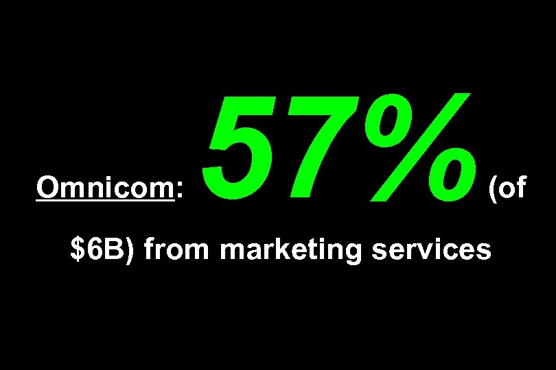 Omnicom: 57% (of $6 B) from marketing services