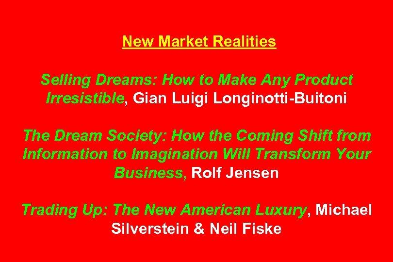 New Market Realities Selling Dreams: How to Make Any Product Irresistible, Gian Luigi Longinotti-Buitoni
