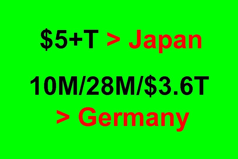 $5+T > Japan 10 M/28 M/$3. 6 T > Germany