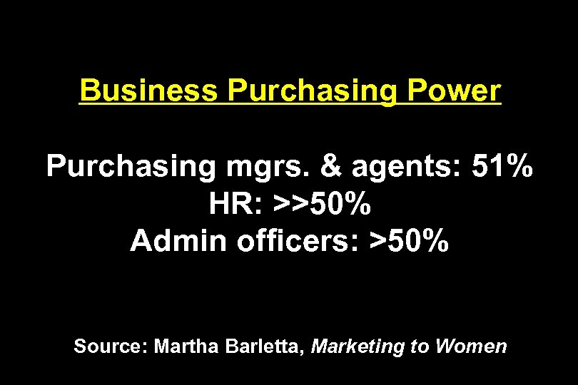Business Purchasing Power Purchasing mgrs. & agents: 51% HR: >>50% Admin officers: >50% Source: