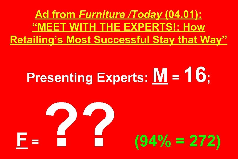 """Ad from Furniture /Today (04. 01): """"MEET WITH THE EXPERTS!: How Retailing's Most Successful"""