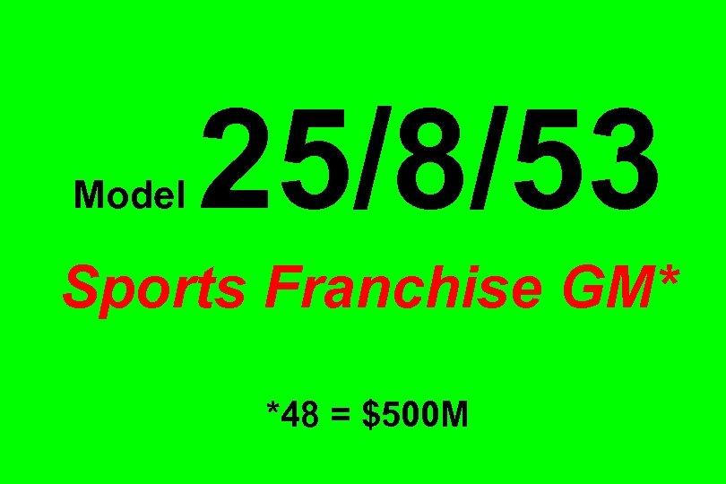 Model 25/8/53 Sports Franchise GM* *48 = $500 M