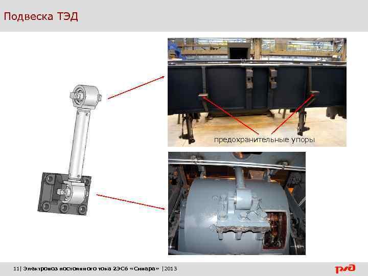 Подвеска ТЭД предохранительные упоры 11| Электровоз постоянного тока 2 ЭС 6 «Синара» |2013