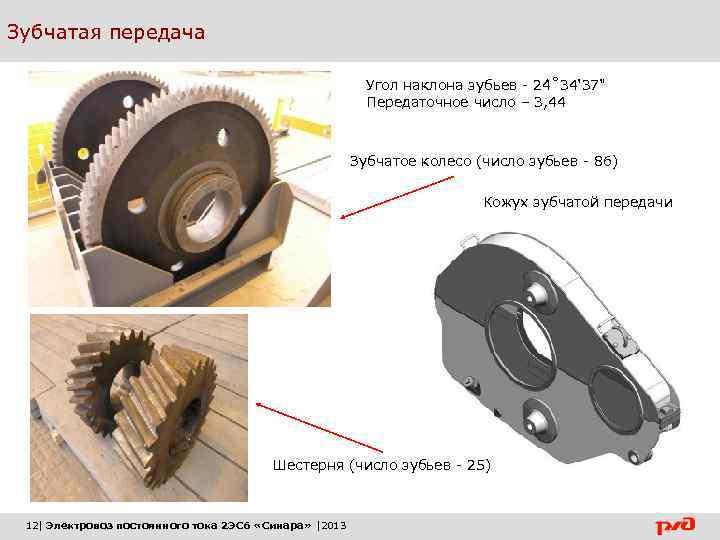 Зубчатая передача Угол наклона зубьев - 24 ˚ 34' 37