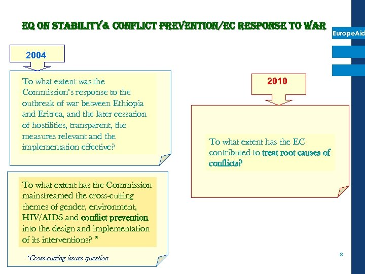 e. Q on stability& conflict prevention/ec response to war Europe. Aid 2004 To what