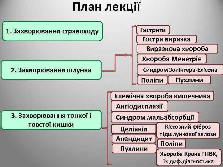 План лекції 1. Захворювання стравоходу 2. Захворювання шлунка Гастрити Гостра виразка Виразкова хвороба Хвороба