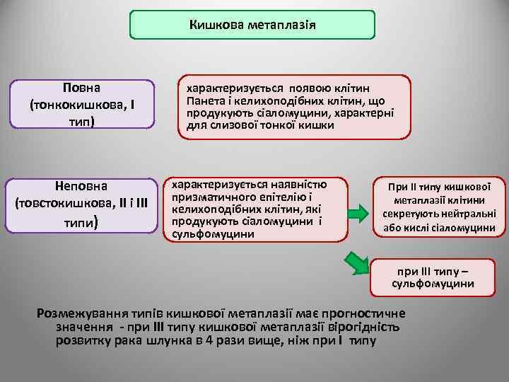 Кишкова метаплазія Повна (тонкокишкова, I тип) Неповна (товстокишкова, II і III типи) характеризується появою