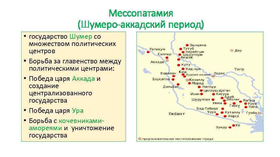 Мессопатамия (Шумеро-аккадский период) • государство Шумер со множеством политических центров • Борьба за главенство