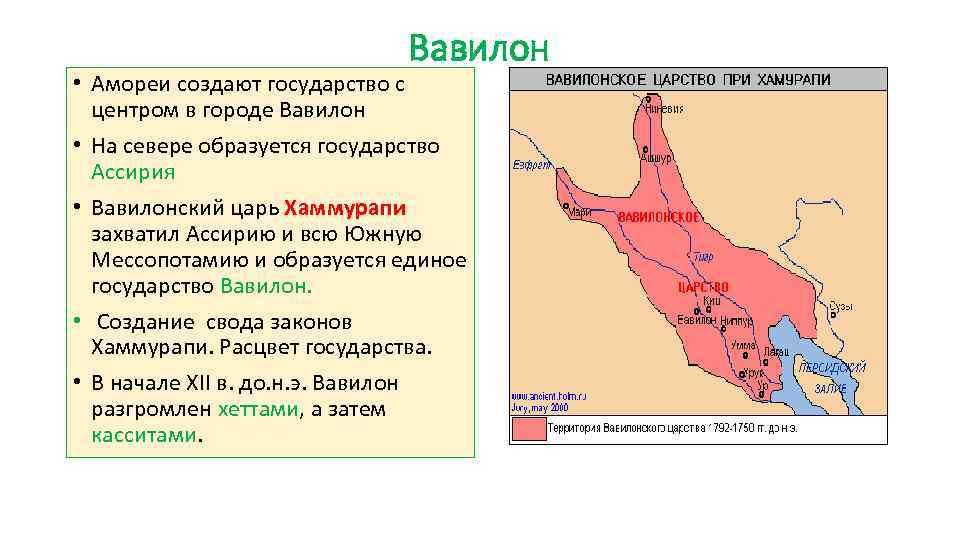 Вавилон • Амореи создают государство с центром в городе Вавилон • На севере образуется