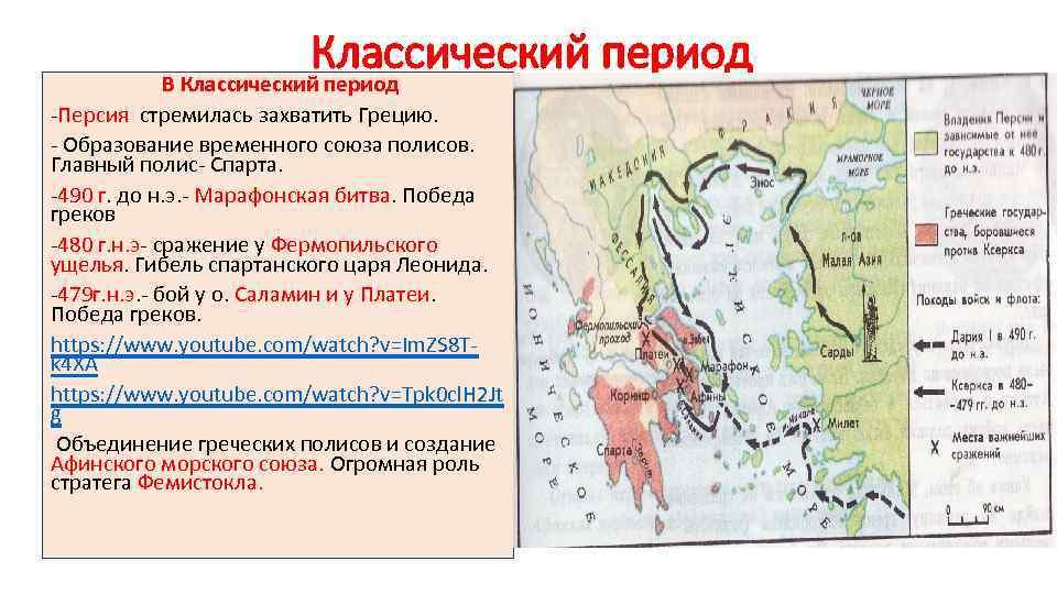 Классический период В Классический период -Персия стремилась захватить Грецию. - Образование временного союза полисов.