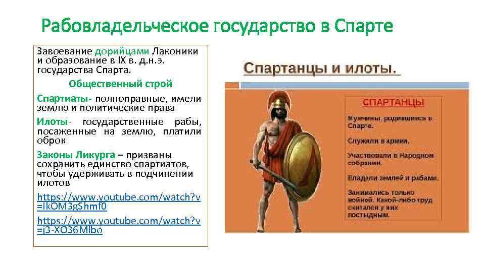 Рабовладельческое государство в Спарте Завоевание дорийцами Лаконики и образование в IX в. д. н.