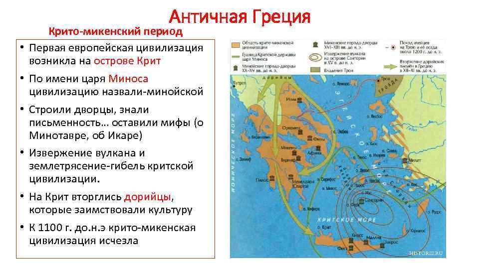Античная Греция • • • Крито-микенский период Первая европейская цивилизация возникла на острове Крит