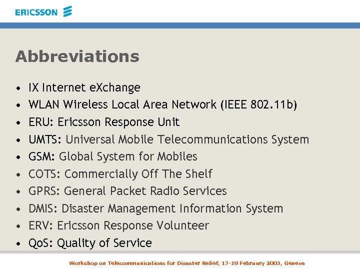 Abbreviations • • • IX Internet e. Xchange WLAN Wireless Local Area Network (IEEE