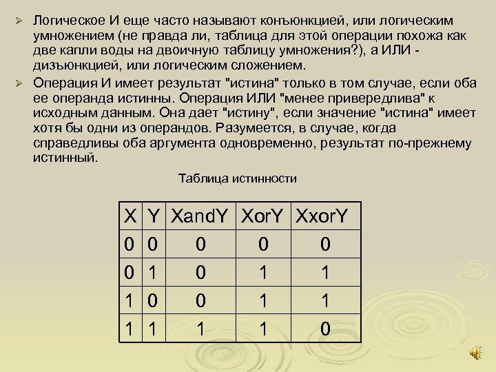 Логическое И еще часто называют конъюнкцией, или логическим умножением (не правда ли, таблица для