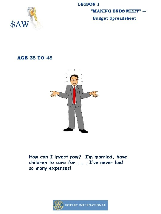 """LESSON 1 """"MAKING ENDS MEET"""" ― $AW Budget Spreadsheet AGE 35 TO 45 How"""