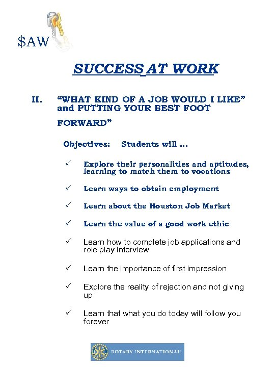 """$AW SUCCESS AT WORK II. """"WHAT KIND OF A JOB WOULD I LIKE"""" and"""