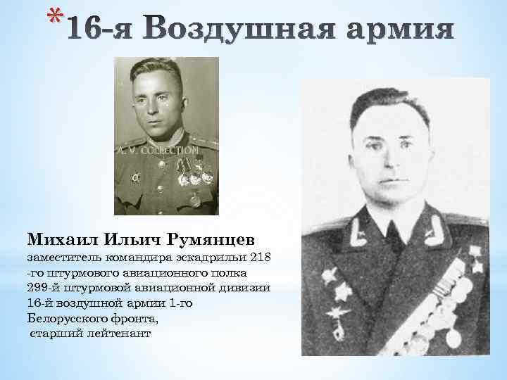 * 16 -я Воздушная армия Михаил Ильич Румянцев заместитель командира эскадрильи 218 -го штурмового