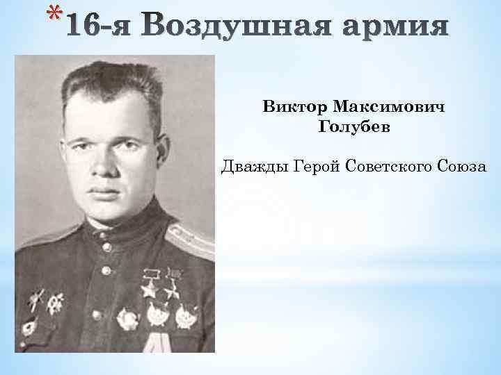 * 16 -я Воздушная армия Виктор Максимович Голубев Дважды Герой Советского Союза