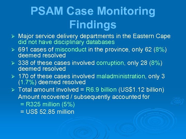 PSAM Case Monitoring Findings Ø Ø Ø Major service delivery departments in the Eastern