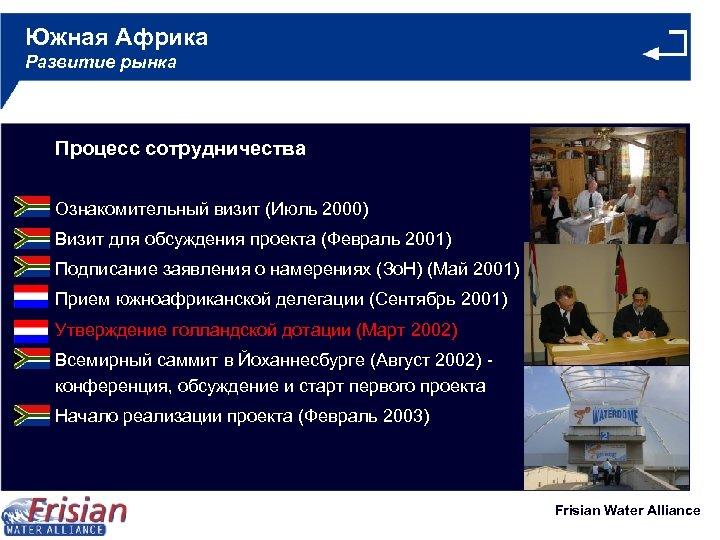 Южная Африка Развитие рынка Процесс сотрудничества Ознакомительный визит (Июль 2000) Визит для обсуждения проекта