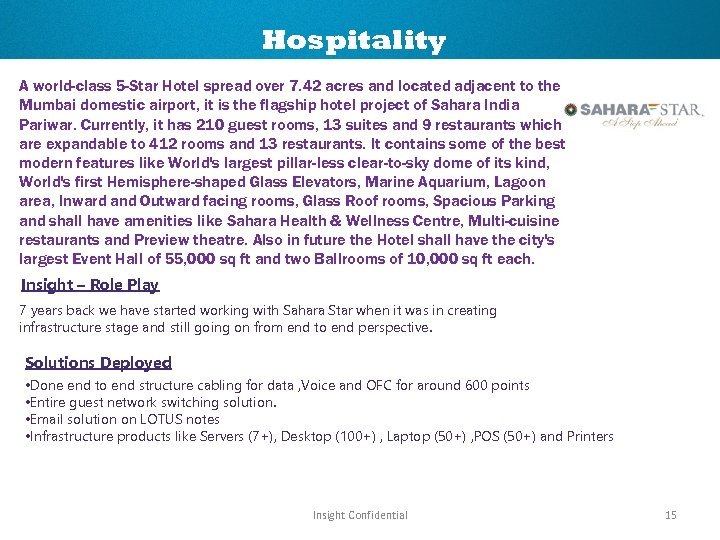 Hospitality A world-class 5 -Star Hotel spread over 7. 42 acres and located adjacent