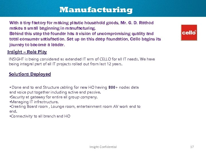 Manufacturing With a tiny factory for making plastic household goods, Mr. G. D. Rathod