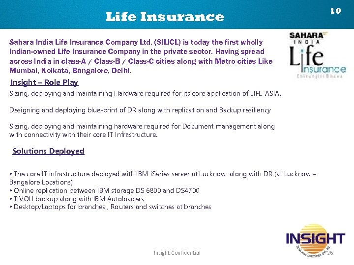 Life Insurance 10 Sahara India Life Insurance Company Ltd. (SILICL) is today the first