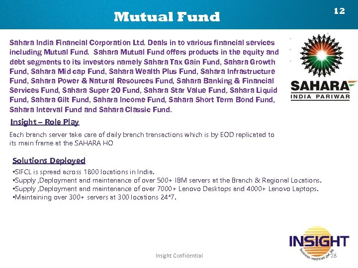 Mutual Fund 12 Sahara India Financial Corporation Ltd. Deals in to various financial services