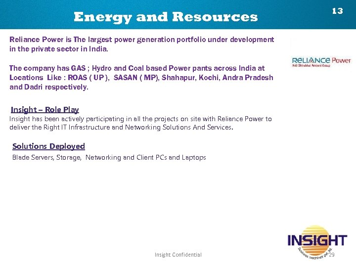 Energy and Resources 13 Reliance Power is The largest power generation portfolio under development
