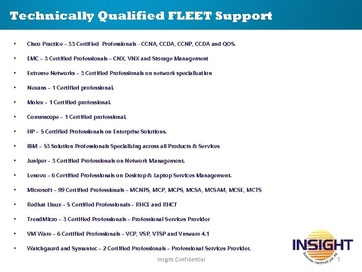 Technically Qualified FLEET Support • Cisco Practice – 33 Certified Professionals - CCNA, CCDA,